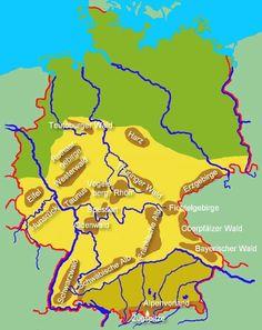Übersichtskarte der deutschen Gebirge