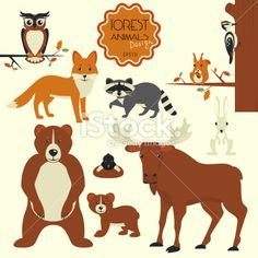Illustration of Cartoon forest animals set on white background vector art, clipart and stock vectors. Free Vector Graphics, Vector Art, Wapiti, Christmas Party Invitation Template, Pet Rocks, Animal Posters, Racoon, Banner Printing, Silhouette Vector