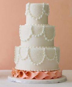 Tartas de boda: fotos ideas en blanco - Tarta blanca decorada para boda