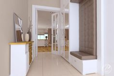 Dom w stylu klasycznym  Stylowa, tapicerowana szafka w strefie wejściowej. Progetti Architektura