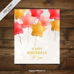 Balloons star shaped birthday card Free Vector