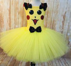 Tutus For Girls, Girls Dresses, Flower Girl Dresses, Tutu Dresses, Party Dresses, Pikachu Halloween Costume, Halloween Tutu Costumes, 1st Birthday Tutu, Girl Birthday