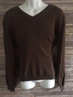 VAN HEUSEN Men's Long Sleeve Sweater Size Medium Brown V Neck Winter #VanHeusen #VNeck #ebay
