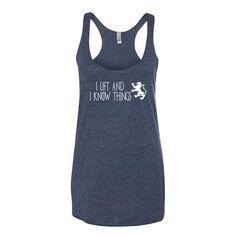 Women's Tri-blend Tank Top - I Lift & I Know Things (white logo) - Zendorphin Design
