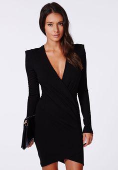 robe moulante V col manche longue -Noir