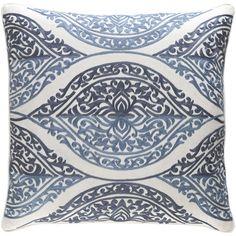 """Rosalind Wheeler Minden Cotton Pillow Cover Size: 18"""" H x 18"""" W x 0.25"""" D, Color: Blue"""