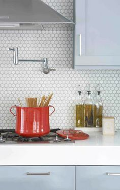 6 Stupendous Tricks: Tin Backsplash Fireplace subway tile backsplash peel and stick.Herringbone Backsplash Peel And Stick tin backsplash countertops.Subway Tile Backsplash Peel And Stick. Blue Kitchen Cabinets, Kitchen Tiles, New Kitchen, White Cabinets, Kitchen Backslash, Grey Cupboards, Colored Cabinets, White Counters, Kitchen Floors