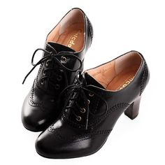 Buy Black High Heel Retro Vintage Style Lace up Dress Oxford Shoes Women SKU-1090639