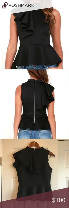 Lulu's Black Peplum Top (S) Lulu's black peplum top. Size small. NWOT (didn't arrive with tags) Never washed or worn. Doing a major closet sweep!  Priced lower on M E R C A R I & V I N T E D!! Price is firm on here so no offers please! Lulu's Tops Tank Tops