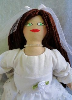 Brunette Bride Doll  OOAK Doll by Joelle's Dolls by JoellesDolls, $40.00