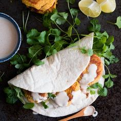 Healthy, fresh and vegan: Carrot Falafel with a lime tahini sauce. A skillet is all it takes!