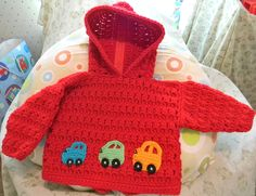 Zip-back hoodie with little car appliques ~ Made this for my grandson :)