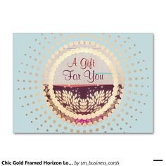 Chic Gold Framed Horizon Logo Gift Card Large Business Cards (Pack Of 100)   Zazzle