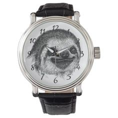 Illustrated Sloth Face Wrist Watch - drawing sketch design graphic draw personalize