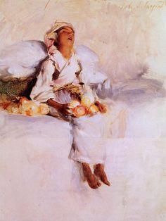 """Little Fruit Seller""  --  1879  --  John Singer Sargent  --  American  --  Oil on board  --  Private Collection"