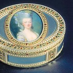 Snuff boxes were very popular in the eighteenth century, and determined the social status of his (or her) own.  Here's one with the effigy of Queen Marie-Antoinette, gold and silver plated enamel.
