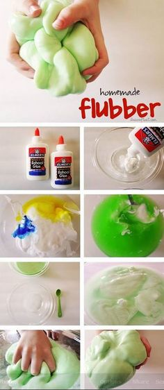 What you need: 3/4 cup cold water • 1 cup Elmer's glue • liquid food coloring • 1/2 cup hot water • 1 teaspoon borax (you can find this in a box in the laundry aisle) Directions: step 1: in bowl 1 mix together the cold water, glue, and food coloring. set aside • step 2: in bowl 2 mix together the hot water and borax, until the borax is completely dissolved • step 3: slowly add glue mixture to borax mixture. mix well. pour off excess water.