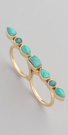 Two Finger Turquoise Gold Ring