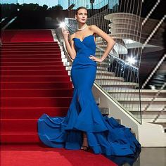 >> Click to Buy << New Arrival Royal Blue Prom Dresses Mermaid Strapless Elegant  Evening Gowns Front Split Court Train Red Carpet Celebrity Dress #Affiliate