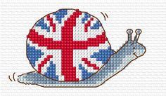 London 2012 cross stitch snail chart by Margaret Sherry