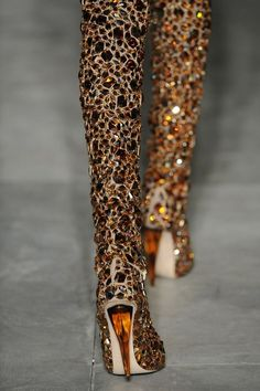 Hadascha's Runway: Alexander Mcqueen Jewel-Encrusted Thigh-High boots & a little more. Yep my kind of sparkle! Jimmy Choo, Crazy Shoes, Me Too Shoes, Dream Shoes, Bootie Boots, Shoe Boots, Boot Heels, Shoes Heels, Women's Boots