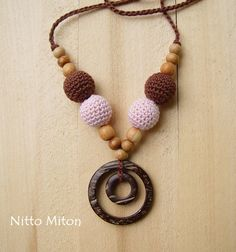 SALE Nursing necklace with coconut ring Crochet by NittoMiton