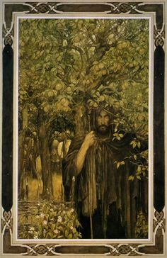 Alan Lee Illustrations to the Mabinogion  VI. From Pwyll, Prince of Dyfed: Pwyll comes to his rival Gwawl's wedding feast disguised as a beggar.