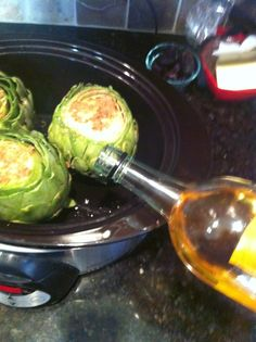 Crock Pot Artichokes with white wine and garlic. These were cooked perfectly and while I normally eat my artichokes with a lot of melted butter, I barely used any!