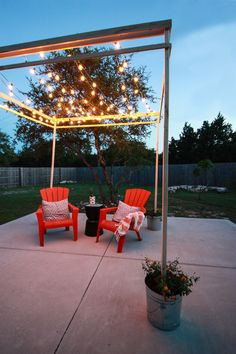 DIY Bistro Light Pergola