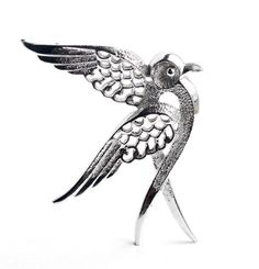 Vintage Bird Brooch - Signed Sarah Cov Silver Tone Swallow Costume Jewelry / Bird in Flight by Maejean Vintage, $12.00