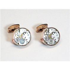 Rose Gold Round Watch Movement Cufflinks $59.95/pair
