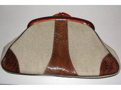 Vintage Margolm Burlap and Snakeskin Clutch