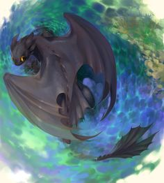 "What a gorgeous image of Toothless from ""How To Train Your Dragon""!"