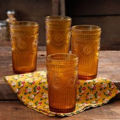 The Pioneer Woman 16-Ounce Amber Adeline Glass Tumbler Set, 4-Pack - Walmart.com