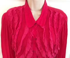 Johnny Was Medium Fuchsia Pink Mesh Ruffle L/S Button Down Blouse Size M  | eBay