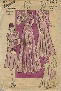 1940s Advance 2445 Vintage Sewing Pattern Misses by midvalecottage