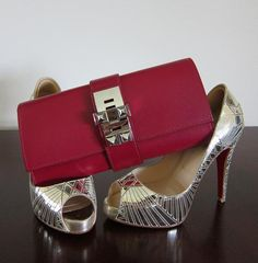 hermes medor clutch and silver louboutins #shoeporn #bagporn #perfectpairings