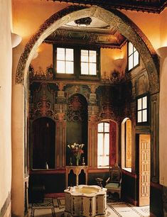 The Suleiman the Magnificent Suite at Beit Al Mamlouka, a seventeenth-century house turned hotel in Damascus's Old City- that arch!!!!