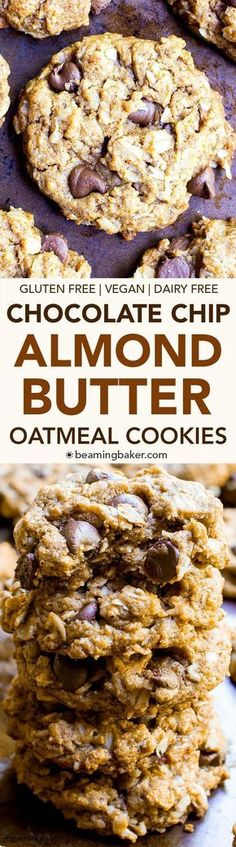 Butter Oatmeal Chocolate Chip Cookies (V+GF): An easy recipe for deliciously simple chocolate chip cookies packed with almond butter, oats and coconut. Gluten Free Baking, Gluten Free Desserts, Dairy Free Recipes, Vegan Desserts, Vegan Gluten Free, Delicious Desserts, Dessert Recipes, Lactose Free, Healthy Vegan Dessert