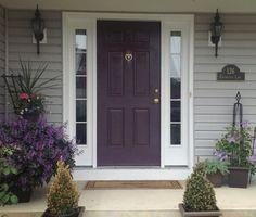gray house eggplant door   12 update: http://streetwisedecor.wordpress.com/2012/06/05/front ...