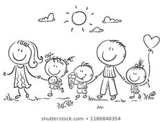 Immagine vettoriale stock 1186840354 a tema Happy Family Three Children Walking Outdoors (royalty free) Art Drawings For Kids, Drawing For Kids, Easy Drawings, Art For Kids, Drawing Drawing, Rock Family, Cute Family, Happy Family, Stick Figure Drawing