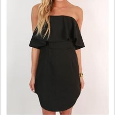 black ruffled dress BRAND NEW NEVER WORN STILL HAS TAGS! Ran too small in size so it doesn't fit me, could not return, From An online boutique! Great quality, ITS a size medium but fits more like a SMALL Dresses