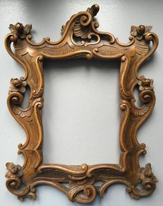 Century Baroque Wooden Picture Frame by VintageArtDesignShop Wood Carving Designs, Wood Carving Art, Wooden Picture Frames, Picture On Wood, Mirror Panels, Mirrors, Unique Furniture, Furniture Online, Garden Furniture