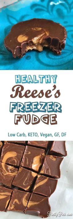 Healthy Reese's Freezer Fudge (Keto, Vegan) PrettyPies.com
