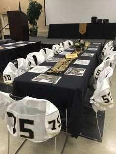 Senior football players table at banquet