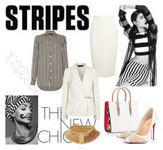 """striped shirts"" by simona88 ❤ liked on Polyvore featuring Christian Louboutin, Polo Ralph Lauren, Donna Karan and Balmain"
