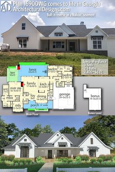 Architectural Designs House Plan 16900WG client-built by Cornerstone Constructors, LLC in Georgia in reverse and on a walkout basement | 3 Beds | 2.5 Baths | 2,300+ sq. ft. | Ready when you are. Where do YOU want to build? #16900WG #adhouseplans #architecturaldesigns #houseplan #architecture #newhome #newconstruction #newhouse #homedesign #dreamhome #dreamhouse #homeplan #architecture #architect #housegoals #clientbuilt #client #Farmhouse #modernfarmhouse #Texas #whitefarmhouse