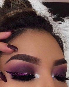 smokey dark purple glittery eye makeup – What is Makeup ? Purple Makeup Looks, Purple Eye Makeup, Makeup Eye Looks, Colorful Eye Makeup, Makeup For Green Eyes, Natural Eye Makeup, Glam Makeup, Beauty Makeup, Face Makeup