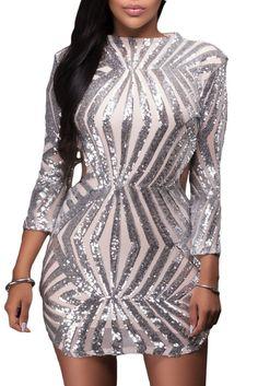 Silver Sequin Detail Open Back Mini Club Dress modeshe.com
