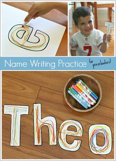 As with anything for kids, learning to write and practice name writing has to be fun! Name Writing Activities, Name Writing Practice, Preschool Literacy, Early Literacy, Literacy Activities, Kindergarten, Toddler Learning, Toddler Preschool, Toddler Activities